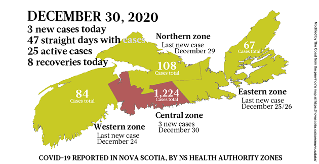 Map of COVID-19 cases reported in Nova Scotia as of December 30, 2020. Legend here. - THE COAST