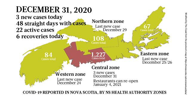 December 31 2020 Nova Scotia map of COVID19 cases The Coast - THE COAST