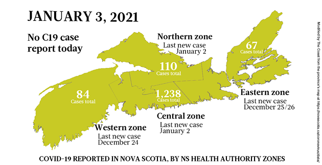 Map of COVID-19 cases reported in Nova Scotia as of January 3, 2021. Legend here. - THE COAST