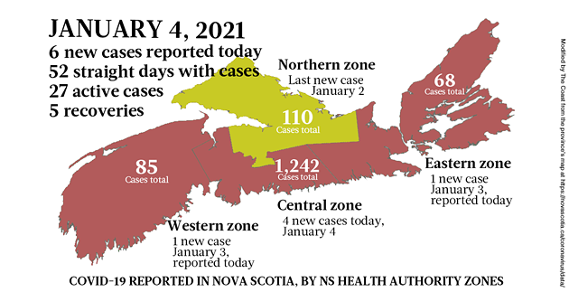 Map of COVID-19 cases reported in Nova Scotia as of January 4, 2021. Legend here. - THE COAST