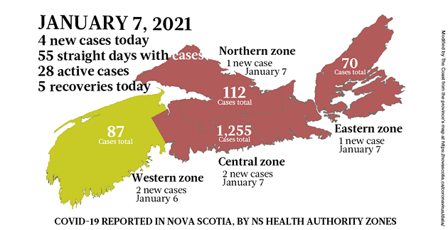 Map of COVID-19 cases reported in Nova Scotia as of January 7, 2021. Legend here. - THE COAST