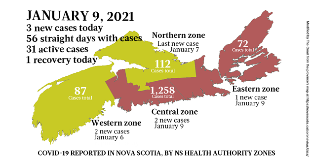 Map of COVID-19 cases reported in Nova Scotia as of January 9, 2021. Legend here. - THE COAST