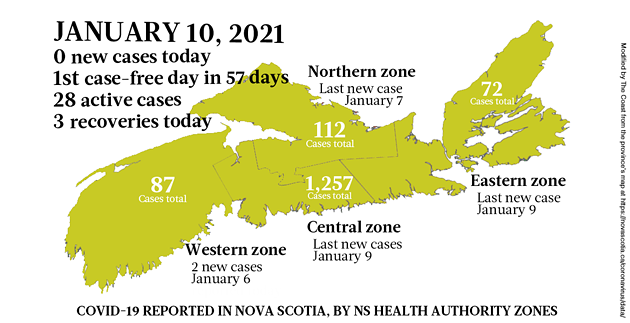 Map of COVID-19 cases reported in Nova Scotia as of January 10, 2021. Legend here. - THE COAST