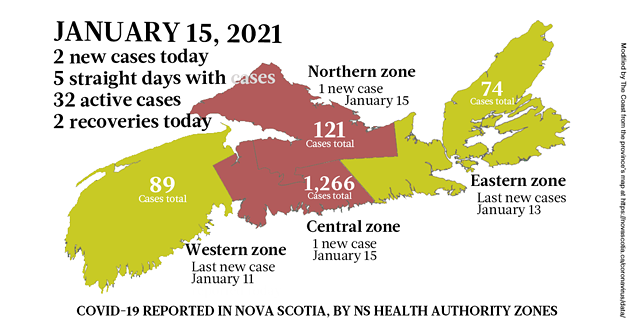 Map of COVID-19 cases reported in Nova Scotia as of January 15, 2021. Legend here. - THE COAST