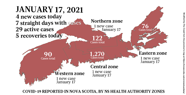 Map of COVID-19 cases reported in Nova Scotia as of January 17, 2021. Legend here. - THE COAST