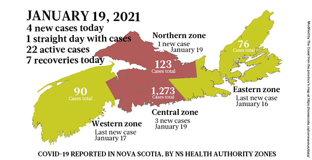 Map of COVID-19 cases reported in Nova Scotia as of January 19, 2021. Legend here. - THE COAST