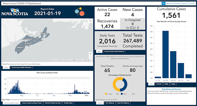 Out with the underinformative old map, in with Nova Scotia's shiny new COVID-19 dashboard. - ARCGIS.COM SCREENSHOT