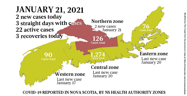 Map of COVID-19 cases reported in Nova Scotia as of January 21, 2021. Legend here. - THE COAST