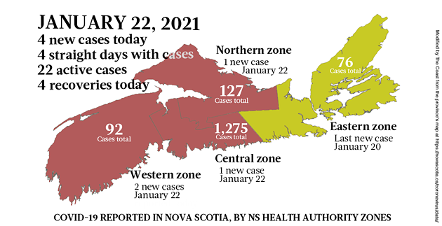 Map of COVID-19 cases reported in Nova Scotia as of January 22, 2021. Legend here. - THE COAST