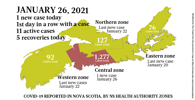 Map of COVID-19 cases reported in Nova Scotia as of January 26, 2021. Legend here. - THE COAST