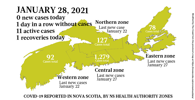 Map of COVID-19 cases reported in Nova Scotia as of January 28, 2021. Legend here. - THE COAST
