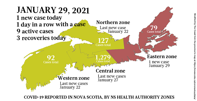 Map of COVID-19 cases reported in Nova Scotia as of January 29, 2021. Legend here. - THE COAST