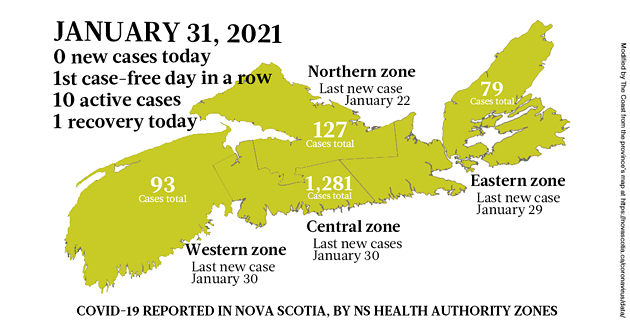 Map of COVID-19 cases reported in Nova Scotia as of January 31, 2021. Legend here. - THE COAST
