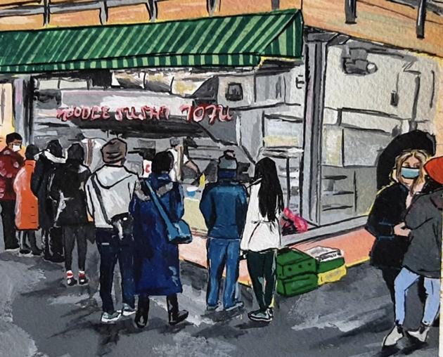 Artist Alyssa Doggett painted a classic Chenpapa scene based on a photo captured by The Coast. - ALYSSA DOGGETT