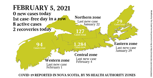 Map of COVID-19 cases reported in Nova Scotia as of February 5, 2021. Legend here. - THE COAST