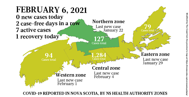 Map of COVID-19 cases reported in Nova Scotia as of February 6, 2021. Legend here. - THE COAST