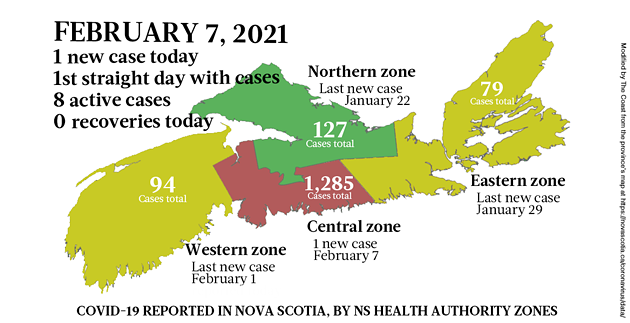 Map of COVID-19 cases reported in Nova Scotia as of February 7, 2021. Legend here. - THE COAST