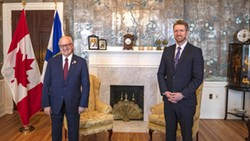 Present, from left: lieutenant governor Arthur J. LeBlanc, physical distancing, premier-to-be Iain Rankin. Absent: masks. - COMMUNICATIONS NOVA SCOTIA