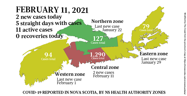 Map of COVID-19 cases reported in Nova Scotia as of February 11, 2021. Legend here. - THE COAST