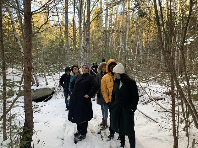 Members of Change Is Brewing Collective, Vanessa Hartley of SEED (South End Environmental Injustice Society) and Buy Black Birchtown co-founder Lauryn Guest on the Birchtown property - JESSIKA HEPBURN