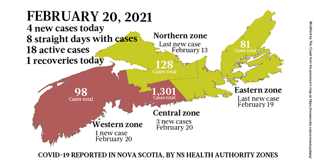 Map of COVID-19 cases reported in Nova Scotia as of February 20, 2021. Legend here. - THE COAST