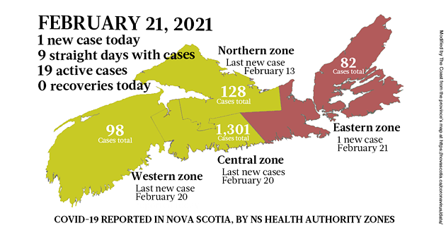 Map of COVID-19 cases reported in Nova Scotia as of February 21, 2021. Legend here. - THE COAST