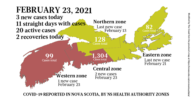 Map of COVID-19 cases reported in Nova Scotia as of February 23, 2021. Legend here. - THE COAST