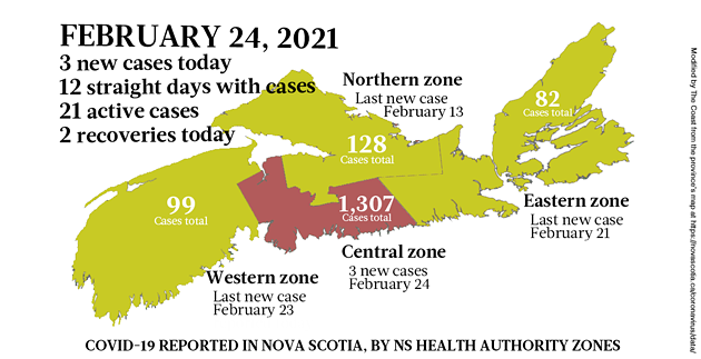 Map of COVID-19 cases reported in Nova Scotia as of February 24, 2021. Legend here. - THE COAST