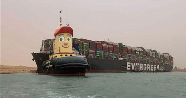"""Theodore Tugboat is leaving Halifax. Ambassatours announced today that the grinning icon has been sold and will be heading to Hamilton, Ontario to be a """"marine career ambassador"""" as soon as he gets back from helping out in Egypt. - PHOTO ILLUSTRATION BY THE COAST"""