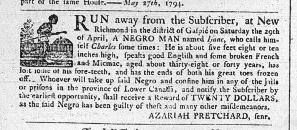 A May, 1794 classified ad from a Halifax paper listing a fugitive slave. These sorts of historical records are what Dr. Nelson uses to investigate Canada's history of slavery. - SUBMITTED