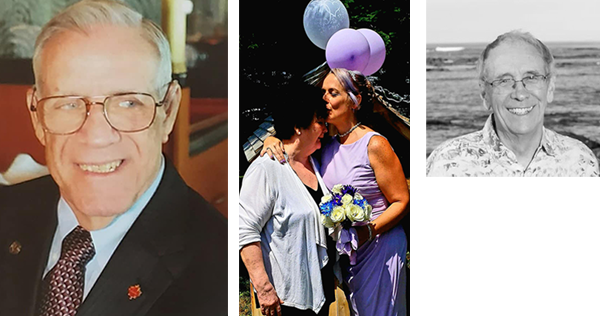 From left to right, Navy veteran Gerald Jackson; Patricia West shown with her daughter Erica Surette, at the backyard wedding Surette held so her mother could attend; renowned marine biologist Ronald O'Dor. - SUBMITTED