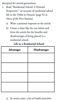 Grade 10 English correspondence course asks for a list of advantages of residential schools. - SCREENSHOT