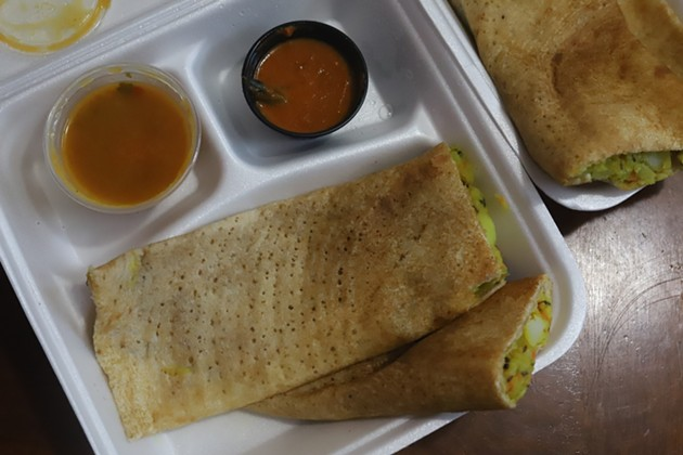 Masala Delight's masala dosa is best for eating in, says Babu, as it gets soggy during transport. - THE COAST