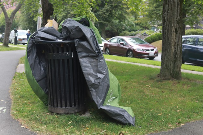 A tent thrown away at Victoria Park in Halifax after police evicted residents in the early morning. - THE COAST