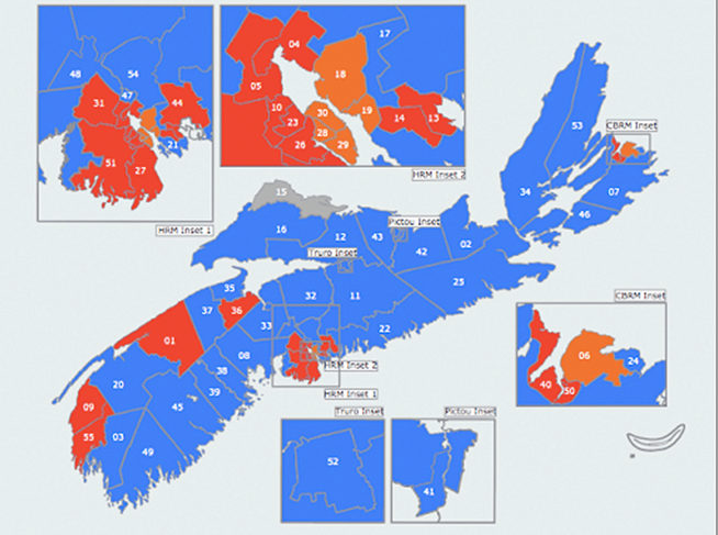 The blue wave that brought Tim Houston's PC Party to power didn't reach urban Halifax. - ELECTIONS NOVA SCOTIA