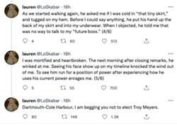 Tweets from Lauren Skabar detailing assault allegation against Troy Myers. - VIA TWITTER