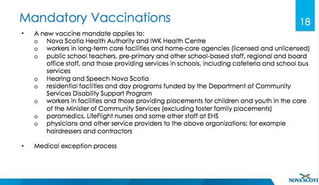 The province has announced a new mandatory vaccine mandate for a number of professions. - COMMUNICATIONS NS