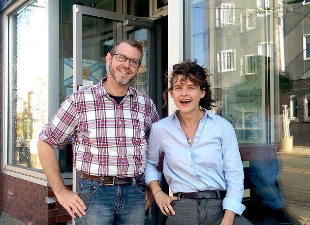 New executive director Jeremy Banks & outgoing director Clare Waque - THE BUS STOP THEATRE