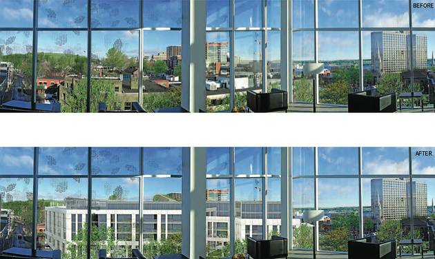 """Are we really blocking the view?,"" asks Chedrawe. ""You'll definitely be seeing our building from the library, but there's still a tremendous view of Citadel Hill."" You be the judge. - VIA WESTWOOD DEVELOPMENTS"