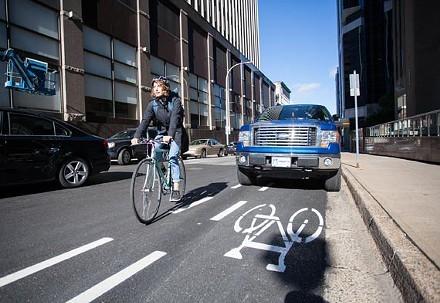The unprotected, painted bike line on Hollis Street. - JORDAN BLACKBURN
