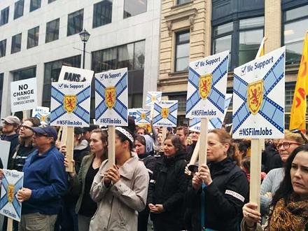A scene outside the Legislature last spring, when hundreds gathered to protest the provincial budget. - VIA SCREEN NOVA SCOTIA