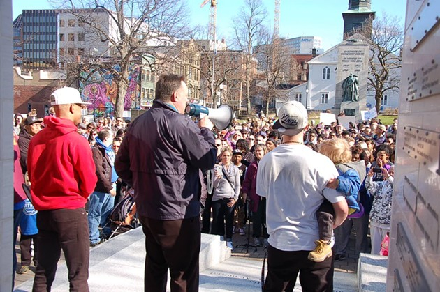 Mike Savage addressing the hundreds assembled at Grand Parade. - THE COAST