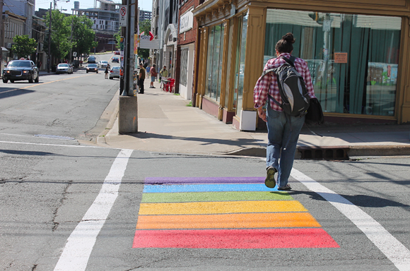 One of the rainbow crosswalks in Halifax that were painted last week in celebration of Pride. - ASHLEY CORBETT