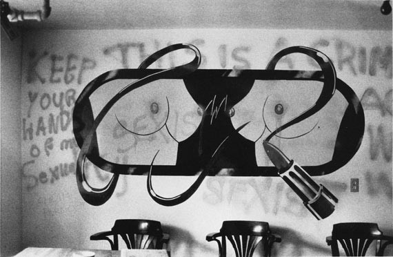 """The infamous """"Tits & Lipstick"""" mural in 1977. - ROBIN METCALFE"""