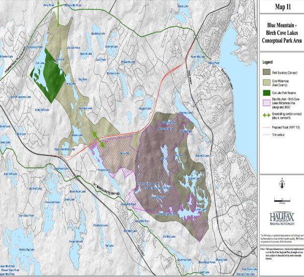 The proposed park boundaries as outlined in HRM's Regional Plan. Click here for a collection of other maps published about the Blue Mountain-Birch Cove Lakes park, including what the Annapolis Group and other private owners want to develop. - VIA CPAWNS