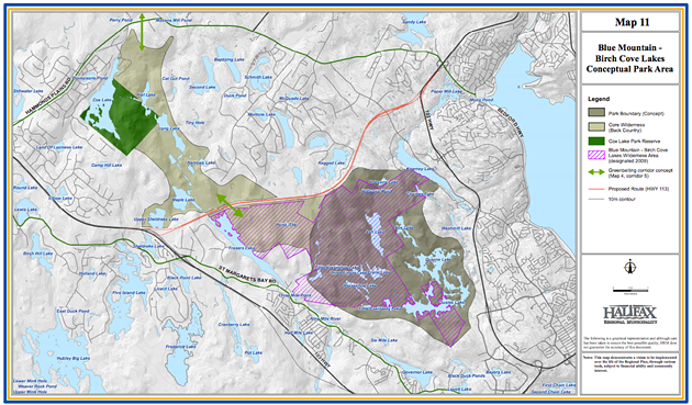 Here's the original Map 11, produced in 2014, with HRM's preferred park boundaries. - VIA HRM