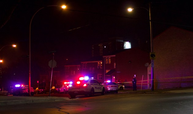 Police cars surround the scene of the crime on Gottingen/Uniacke. - KATIE TOTH