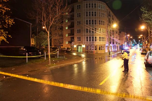 Police tape surrounds the crime scene on Gottingen. - JACOB BOON