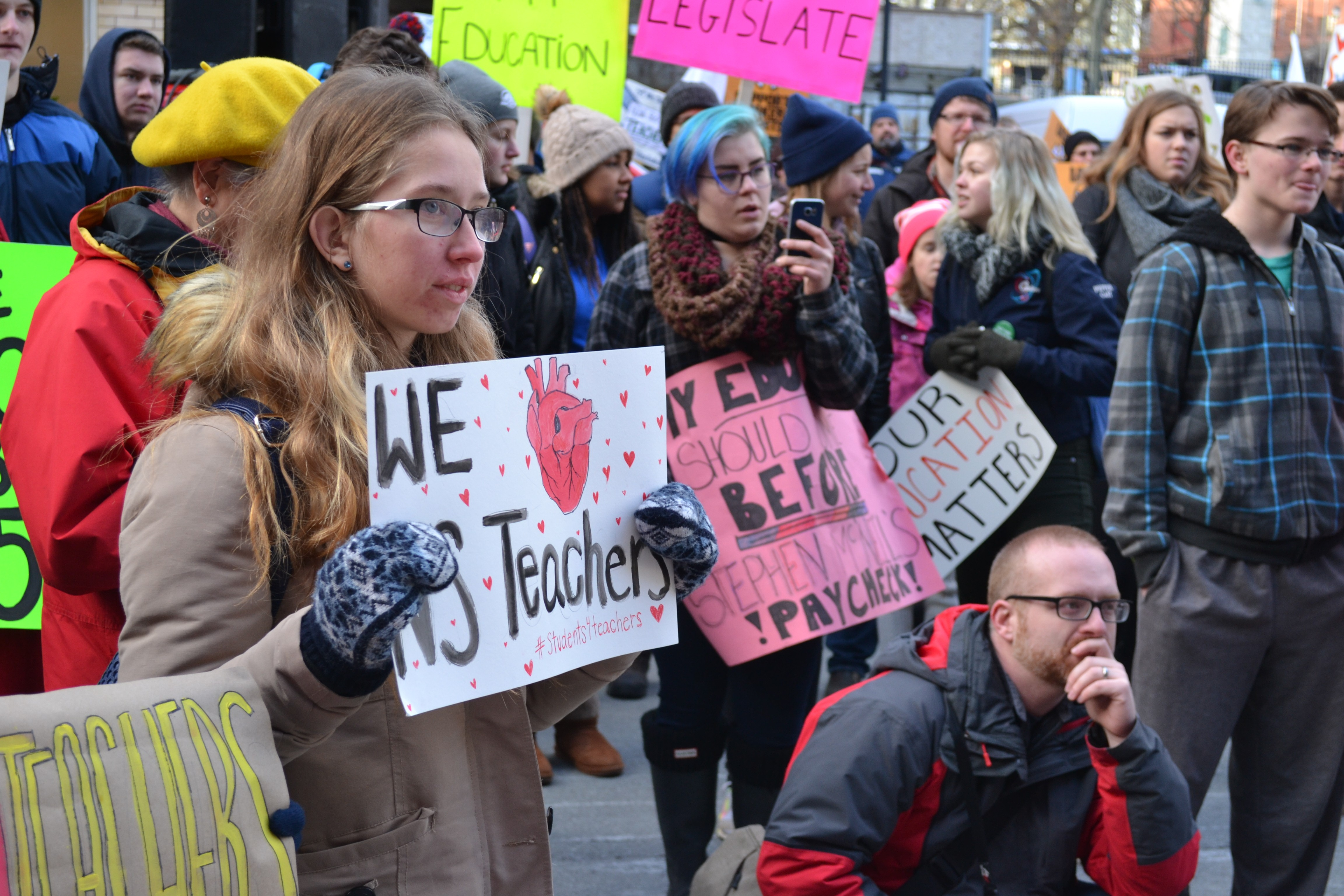 Hundreds of students and parents gathered outside Province House on Monday. - REBECCA DINGWELL