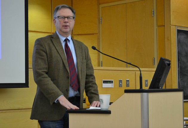 Bruce Lourie speaking at Dalhousie University on Thursday. - THE COAST